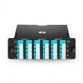 FHD MTP® Kassette, 3x MTP®-8 auf 6x LC Quad, Universelle Polarität, 24 Fasern OM4 Multimode, 40G/100G auf 10G/25G