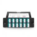 Cassette FHD TAP 24 fibras OM4 multimodo, 12x LC dúplex, 50/50 relación dividida (Live/TAP), 1/10/40/100G