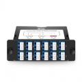 Cassette FHD TAP 24 fibras OS2 monomodo, 12x LC dúplex, 50/50 relación dividida (Live/TAP), 1/10/40/100G
