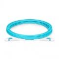 Cable de conexión de fibra óptica insensible a la curvatura, PVC (OFNR) 5m (16ft) LC UPC dúplex 2.0mm OM4 multimodo uniboot con clip plano