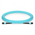 Customized Length MTP Female 12 Fibers Type A Plenum (OFNP) OM3 50/125 Multimode Elite Trunk Cable, Aqua