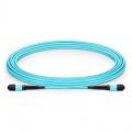 Cable troncal MTP® 12 fibras OM3 multimodo plenum personalizado, tipo A, hembra, élite, aguamarina