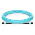 Customized Length MTP Female 12 Fibers Type B LSZH OM3 50/125 Multimode Elite Trunk Cable, Aqua
