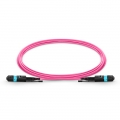 Customized Length MTP Female 12 Fibers Type A LSZH OM4 50/125 Multimode Elite HD Trunk Cable, Magenta