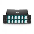 24 Fasern FHD MPO LWL-Kassette, OM3 Multimode für 2x MPO-12 auf 12x LC Duplex, Polarität AF