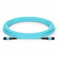 Customized Length MPO Female 12 Fibers Type B LSZH OM3 50/125 Multimode Elite Trunk Cable, Aqua