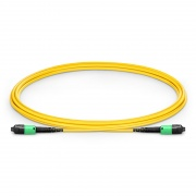 2m (7ft) US Conec MTP® PRO Male 12 Fibers Type B Plenum (OFNP) OS2 9/125 Single Mode Elite Trunk Cable, Yellow