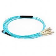 3m (10ft) Câble Breakout MPO Femelle vers 12 LC UPC Simplex 12 Fibres LSZH OM3 50/125 Multimode, Élite, Aqua, Chaque Breakout 0,3m, Diamètre de Fil de Breakout 2,0mm