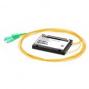 1x2 Divisor de fibra PLC con paquete plástico de la caja del ABS, 2.0mm, SC/APC, monomodo