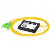 1x4 Divisor de fibra PLC con paquete plástico de la caja del ABS, 2.0mm, SC/APC, monomodo