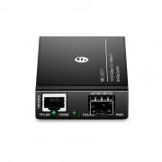 Mini conversor de medios gigabit ethernet de 1x 10/100/1000Base-T RJ45 a 1x 1000Base-X ranura SFP, AC 100V~240V, con enchufe estándar europeo