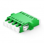 LC/APC to LC/APC Quad Single Mode Plastic Fiber Optic Adapter/Coupler with Flange