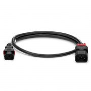3.3ft (1m) Z-Lock Dual Locking IEC320 C14 to IEC320 C13 14AWG 250V/15A Power Extension Cord, Black