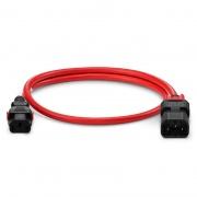 Z-Lock cable de extensión de alimentación IEC320 C13 a IEC320 C14, doble bloqueo, 14AWG, 250V/15A, 6.6ft (2m), color rojo