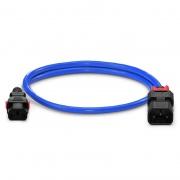 Z-Lock cable de extensión de alimentación IEC320 C13 a IEC320 C14, doble bloqueo, 17AWG, 250V/10A, 3.3ft (1m), color azul