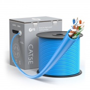 Cat5e Ethernet Bulk Cable, 1000ft (305m), UL Listed, 24AWG Solid Pure Bare Copper Wire, 350MHz, Unshielded (UTP), PVC CMP (Blue)