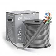 Cat5e Ethernet Bulk Cable, 1000ft (305m), UL Listed, 24AWG Solid Pure Bare Copper Wire, 350MHz, Unshielded (UTP), PVC CMP (Gray)
