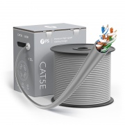 Cat5e Ethernet Bulk Cable, 1000ft (305m), UL Listed, 24AWG Solid Pure Bare Copper Wire, 350MHz, Unshielded (UTP), PVC CMR (Gray)