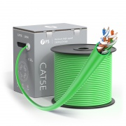 Cat5e Ethernet Bulk Cable, 1000ft (305m), UL Listed, 24AWG Solid Pure Bare Copper Wire, 350MHz, Unshielded (UTP), PVC CMR (Green)
