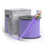 Cat5e Ethernet Bulk Cable, 1000ft (305m), UL Listed, 24AWG Solid Pure Bare Copper Wire, 350MHz, Unshielded (UTP), PVC CMR (Purple)