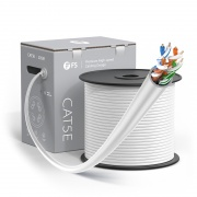Cat5e Ethernet Bulk Cable, 1000ft (305m), UL Listed, 24AWG Solid Pure Bare Copper Wire, 350MHz, Unshielded (UTP), PVC CMR (White)