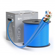 Cat5e Ethernet Bulk Cable, 1000ft (305m), UL Listed, 24AWG Stranded Pure Bare Copper Wire, 350MHz, Unshielded (UTP), PVC CM (Blue)
