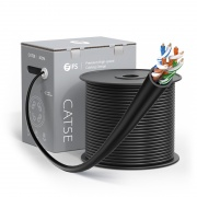 Cat5e Ethernet Bulk Cable, 1000ft (305m), UL Listed, 24AWG Stranded Pure Bare Copper Wire, 350MHz, Unshielded (UTP), PVC CM (Black)