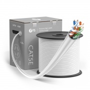 Cat5e Ethernet Bulk Cable, 1000ft (305m), UL Listed, 24AWG Stranded Pure Bare Copper Wire, 350MHz, Unshielded (UTP), PVC CM (White)