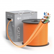 Cat5e Ethernet Bulk Cable, 1000ft (305m), UL Listed, 24AWG Stranded Pure Bare Copper Wire, 350MHz, Unshielded (UTP), PVC CM (Orange)