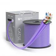 Cat5e Ethernet Bulk Cable, 1000ft (305m), UL Listed, 24AWG Stranded Pure Bare Copper Wire, 350MHz, Unshielded (UTP), PVC CM (Purple)