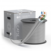 Cat5e Ethernet Bulk Cable, 1000ft (305m), UL Listed, 24AWG Solid Pure Bare Copper Wire, 350MHz, Shielded (F/UTP), PVC CM (Gray)