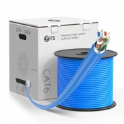 Cat6 Ethernet Bulk Cable, 1000ft (305m), UL Listed, 23AWG Solid Pure Bare Copper Wire, 550MHz, Shielded (F/UTP), PVC CMR (Blue)