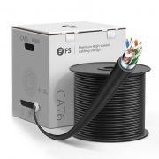 Cat6 Ethernet Bulk Cable, 1000ft (305m), UL Listed, 26AWG Stranded Pure Bare Copper Wire, 550MHz, Shielded (F/UTP), PVC CM (Black)