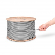 Bobina de cable de red Ethernet Cat6a, 1000ft (305m), 23AWG, 750MHz, blindado (S/FTP), PVC CMR, gris