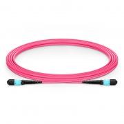 3m (10ft) MTP®-12 (Male) to MTP®-12 (Female) OM4 Multimode Elite Trunk Cable, 12 Fibers, Type B, Plenum (OFNP), Magenta
