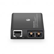 Mini conversor de medios gigabit ethernet 1x 10/100/1000Base-T RJ45 a 1x 100/1000Base-X multimodo SC 850nm 220/550m, con enchufe estándar británico