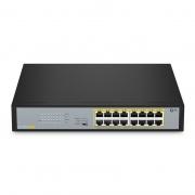S1900-16TP — 16-Port Gigabit Ethernet Unmanaged PoE+ Switch, 16x PoE+ Ports@135W, Metall, Lüfterlos, Tisch-/Rackmontage