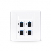 4-Port SC Simplex UPC OS2 Single Mode Fiber Optic Wall Plate Outlet with Adapters, Straight