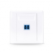 Single Port LC Duplex UPC OS2 Single Mode Fiber Optic Wall Plate Outlet, Straight