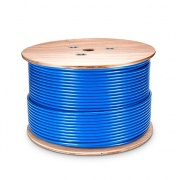 Cat6 Ethernet Bulk Cable, 1000ft, 23AWG Solid Pure Bare Copper Wire, 550MHz, Shielded and Foiled (SF/UTP), PVC CMR (Blue)