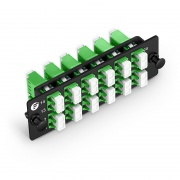 FHD Fiber Adapter Panel, 24 Fibers OS2 Single Mode, 12x LC APC Duplex (Green) Adapter, Ceramic Sleeve