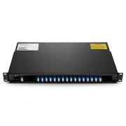 Multiplexor Demultiplexor DWDM Mux Demux fibra dual 16 canales LC/UPC C27-C42, montaje en FMU rack 1U