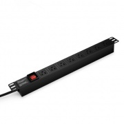 Single-Phase 15A/125V Basic PDU,  8 NEMA 5-15R Outlets, NEMA 5-15P Plug, 6.6ft Cord, 1U Rack-Mount