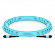 Customized 8-144 Fibers MTP®-12 OM3 Multimode Elite Trunk Cable, Aqua