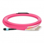 Customized 8-144 Fibers MTP®-12 OM4 Multimode Elite Breakout Cable, Magenta