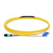 2m (7ft) MTP Femelle vers 4 LC UPC Duplex 8 Fibres OS2 9/125 Câble Breakout Monomode, Type B, Élite, LSZH, Jaune