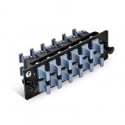 Panel de adaptador de fibra con 12 MTP Key Up a Key Down Adapters (Negro), Horizontal