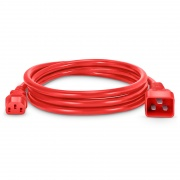 6ft (1.8m) IEC320 C20 to IEC320 C13 14AWG 250V/15A Power Cord, Red