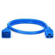 3ft (0.9m) IEC320 C20 to IEC320 C19 12AWG 250V/20A Power Extension Cord, Blue