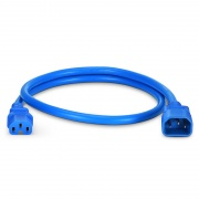 IEC320 C14 to C15 Power Cord, 14AWG, 250V/15A, Blue-3ft (0.9m)